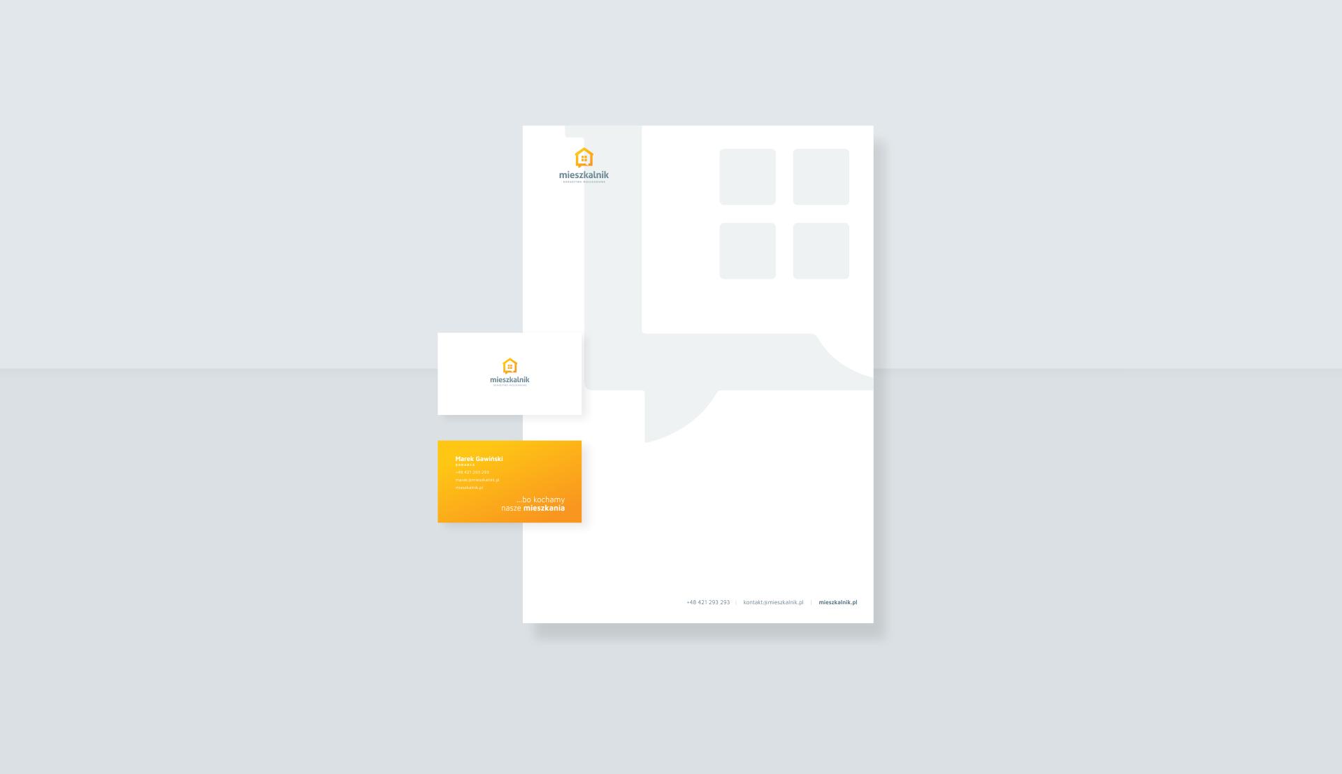 Projekt papieru firmowego i wizytówki dla doradztwa mieszkaniowego