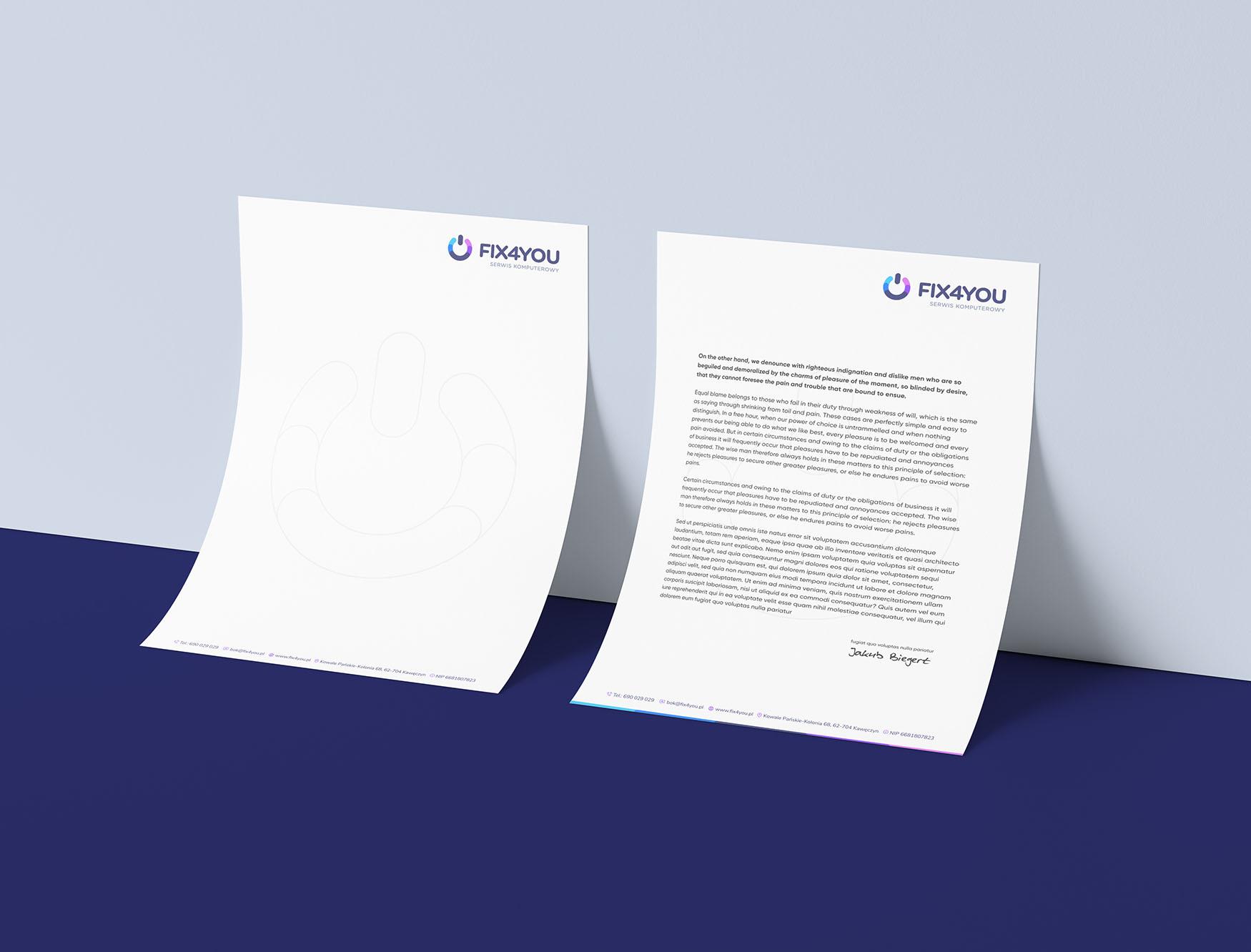projekt papieru firmowego freelancer