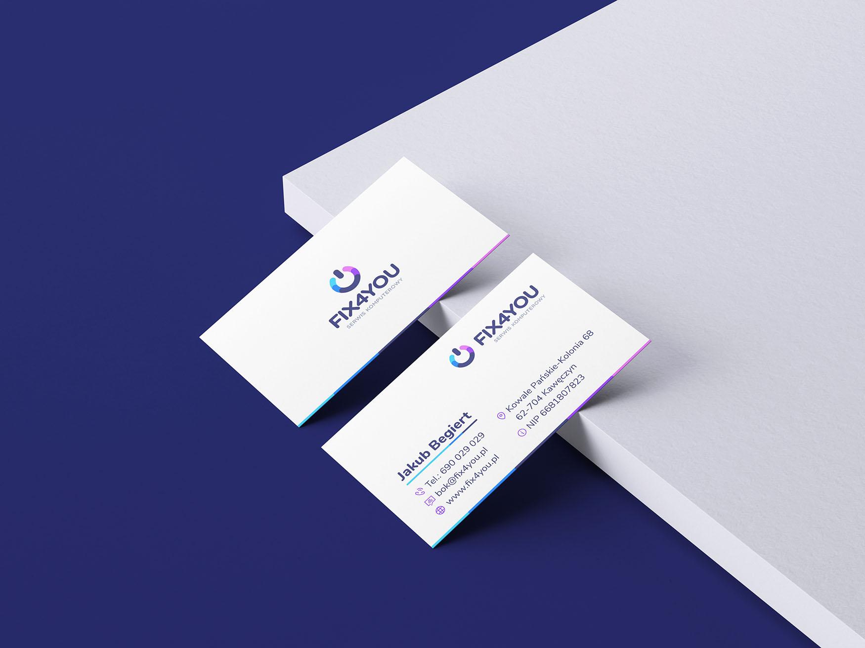 projekt wizytówek dla serwisu komputerowego